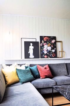 colorful-living-room-floral-image-painting-yellow-green-blue-red-pillows-pillow - The world's most private search engine Colourful Living Room, Living Room Red, Photo Shelf, Black Tv Stand, Red Pillows, Yellow, Furniture, Image Painting, Design