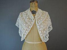 Antique Lace Cape Edwardian 1900s  Fine Embroidered Lace