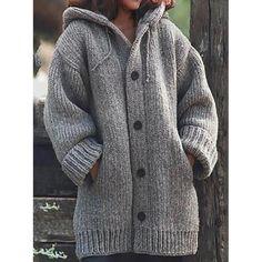 Womens Ladies Knitted Hooded Pom Pom Hood Longline Cardigan Jumper Jacket Top