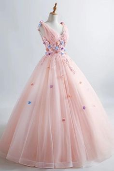 Princess Blush Ball Gown 3D Floral Applique V-neck Prom Quinceanera Dress OP435 – ombreprom.co.uk #blushpromdresses #pricessballgown #quinceaneradresses #promdressesapplique