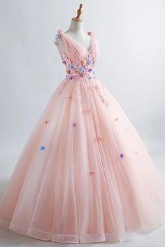 Princess Blush Ball Gown 3D Floral Applique V-neck Prom Quinceanera Dress OP435 – ombreprom.co.uk #blushpromdresses #pricessballgown #quinceaneradresses #promdressesapplique