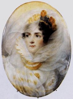 French Miniature Portrait Of A Lady  c. 18th Century