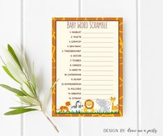 safari baby word scramble wild animals baby shower game jungl safari unscramble game
