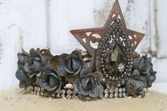 Hand made metal crown ooak for statues or shelf decor embellished in roses, gems, rhinestones and more anita spero