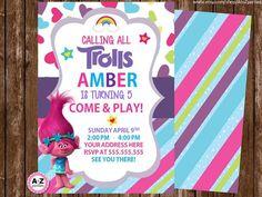 Troll Birthday Invitation, Personalized Invitation, Printable DIY, Troll party, personalized invitation, invite, troll movie, 5x7, diy by AtoZparties on Etsy