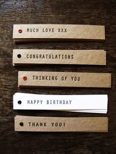 Handmade letterpress tags  5 pack by thecollectorsroom on Etsy, $8.00