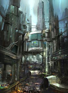 Cyberpunk, Cyber City, 'Gnomon in Future' by Cecil Kim