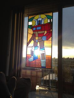 'St. Optimus of Prime', A 122-Piece Stained Glass Design Depicting Autobot Leader Optimus Prime From 'Transformers'