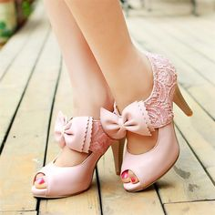 Women's Pink Bow Wedding Shoes Lace Peep Toe Stiletto Heels Mary Jane Pumps Homecoming Dresses Shoes Fall Fashion Trends 2017 Fall Fashion Outfits 2017 Fall Fashion Wedding Dress Shoes for Wedding, Big day Pretty Shoes, Beautiful Shoes, Cute Shoes, Me Too Shoes, Lace High Heels, Womens High Heels, Frauen In High Heels, Pink Shoes