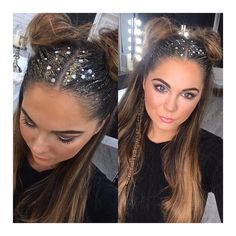 """82 Likes, 6 Comments - YASMIN HULIN (@yasminhulin_hairextensions) on Instagram: """"So I did it 🦄✨👑💕 ... Glitter roots, buns and a fishtail 💁🏻✨ cannot wait to recreate these looks…"""""""