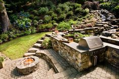 These outdoor kitchens have an extra dose of ambiance and warmth with the addition of fire pits and fireplaces.