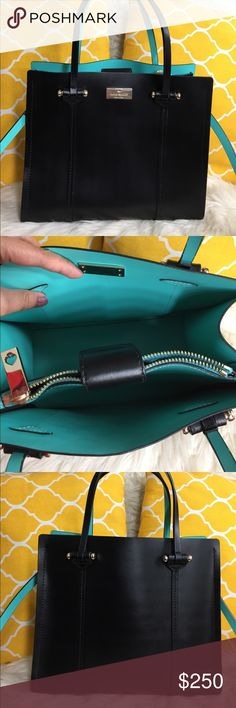 "🌸OFFERS?🌸Kate Spade All Leather Two Tone Satchel 🌷Authentic🌷Excellent shape. Minimal sign of use. Features top handle, removabel/adjustable strap, magnetic snap button to close, 2 main compartment with two pockets and metal feet for protection. Gret for going out or everyday use. Really nice combination of black and seafoam green. Carry it by hand/arm, shoulder or crossbody. Don't be shy to make an offer💕Dimensions: L10.5"" H9.5"" Bottom Width5"" Handle Drop5.5""+removable strap✨Feel free…"