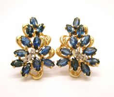 Vintage 3.12CT Fine Sapphire & Diamond Cluster Style Earrings French Clip 14K YG #Handmade #Cluster