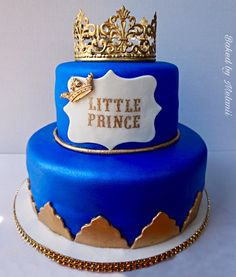 Charming Royal Themed Cake, Blue And Gold Royal Baby Shower Cake