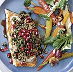 Arctic Char with Tahini Sauce, Nuts, and Herbs