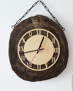 Wooden clock | Купить Брутальные часы из спила - коричневый, настенные часы, спил дерева, часы интерьерные, все для дома Interior Desing, Wood Clocks, Arduino, Home Projects, Woodworking, Crafty, Watches, Stone, Cool Stuff