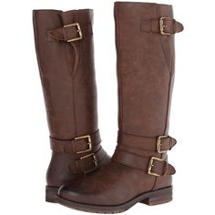 Natural Soul Bircher Women's Boots, Brown (£24) ❤ liked on Polyvore featuring shoes, boots, botas, zapatos, footwear, brown, motorcycle boots, tall brown boots, faux-fur boots and knee high platform boots