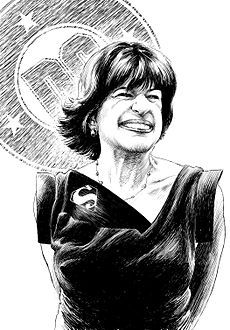"""The big man of DC Comics was a woman in the 70s! Before filling Carmine Infantino's shoes (that and crepe paper) as editorial director, she edited the legendary lad mag """"Dynamite"""" (her connect with Milton Glaser led him to redesign the DC """"bullet"""" as pictured). Her credits include """"The DC Explosion,"""" """"Dollar Comics,"""" graphic novels including """"Dark Knight,"""" the Milestone line including """"Static,"""" stories that brought awareness of real-world issues."""