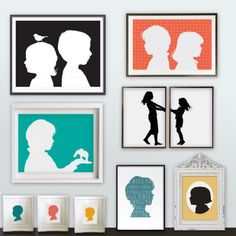 Silhouette custom portrait PDFs by happythought on Etsy, I love the two pictures with the girls holding hands!