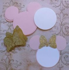 25 Pink Minnie Mouse Head Shapes White Circle Shapes Gold Glitter Bows- Die Cut pieces for DIY Birthday Party Invitations Minnie Mouse 1st Birthday, Minnie Mouse Theme, Pink Minnie, Mickey Party, Mickey Minnie Mouse, 2nd Birthday Parties, Diy Birthday, Birthday Party Invitations, Birthday Ideas