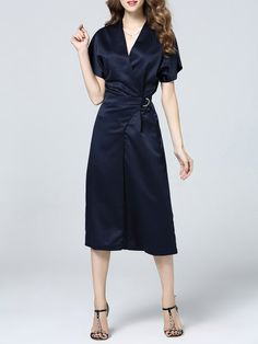 Shop Jumpsuits - Navy Blue Plain Short Sleeve Paneled Polyester Jumpsuit online. Discover unique designers fashion at StyleWe.com.