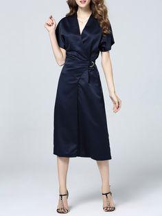 Shop Jumpsuits - Navy Blue Plain Short Sleeve Paneled Polyester Jumpsuit online. Discover unique designers fashion at StyleWe.com.