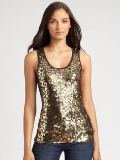 Michael By Michael Kors Sequined Camouflage Tank Top in Gold (spruce) - Lyst Sequin Tank Tops, Fall Looks, Green And Gold, Army Green, Camisole Top, Sequins, Michael Kors, Formal Dresses, How To Wear