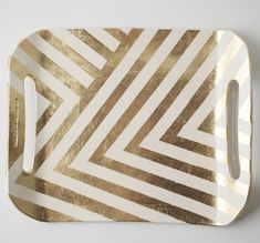 Gold zig zag serving tray