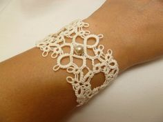 Tatted Lace wide Cuff Bracelet -Chantilly MTO in your color choice on Etsy, $36.50