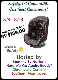 Safety 1st Advance SE 65 Air + Convertible Car Seat Giveaway - Ends 8/18 - Mommy by Nurture