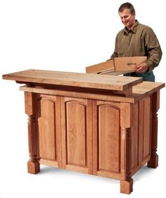 Free How to Build a Kitchen Island with Pre-built Panels and Butcher Block - I'd like this in gray please!