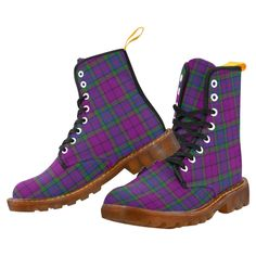 Tartan Boot – Armstrong Modern Martin Boot – Your Tartan Clan Buchanan, Clan Macdonald, Campbell Clan, Clan Macleod, Floral Combat Boots, Martin Boots, Tartan, Lace Up, How To Wear