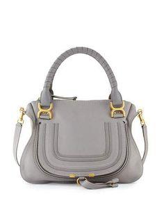 V1P1B Chloe Marcie Medium Satchel Bag, Gray