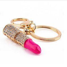 Hot Pink Lipstick Austrian Crystals Key Chain Fabulous Sparkling Rhinestones…