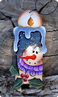 Snowman Thyme Candle Ornament by CountryCharmers on Etsy Christmas Ornaments To Make, Christmas Wood, Country Christmas, Christmas Holidays, Christmas Decorations, Snowman Ornaments, Snowmen, Christmas Drawing, Christmas Paintings