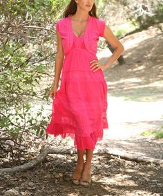 Another great find on #zulily! Fuchsia Eyelet Tiered Empire-Waist Dress & Shrug by Ananda's Collection #zulilyfinds
