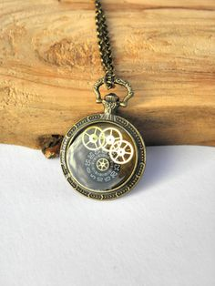 steampunk round camee necklace resin brass by MarieksJewelry