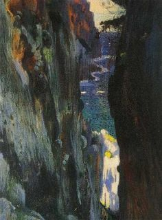 artwork: Joaquim Mir our eye reads the colourful area down to the white water which holds our attention