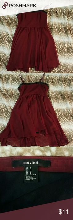 Wine Forever 21 dress Gorgeous wine colored dress from Forever 21 Forever 21 Dresses Midi