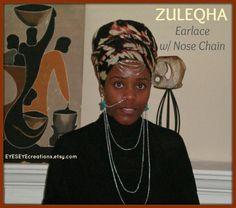 ZULEQHA  Earlace with nose chain by EYESEYEcreations on Etsy, $25.00 Leg Chain, Septum, Body Jewelry, Headdress, Hoop Earrings, Headpiece, Fascinators, Body Mods, Aperture