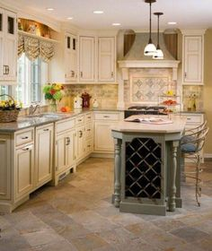 This traditional french country kitchen gives these homeowners plenty of countertop space for food prep and entertaining, while increasing the functionality and flow of the space. Description from houzz.com. I searched for this on bing.com/images
