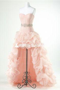 Robe de soirée bustier en satin et organza avec jupe longueur asymétrique