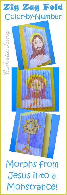 In this craft, you see one picture when looking at it from the left, and another picture when you look at it from the right! This is a First Communion craft that shows the true presence in the Eucharist. It's a color-by-number that's free to print, then folds up in a zig zag like a fan.