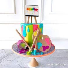 Paint Party birthday cake made with Satin Ice Fondant Crayon Birthday Parties, Art Birthday Cake, Artist Birthday, Birthday Kids, Art Party Cakes, Cake Art, Bolo Fack, Art Themed Party, Teacher Cakes