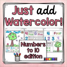 Just Add Watercolor! {Numbers to 10} offers students the chance to practice numbers to 10 in a variety of ways, as well as much needed practice with fine motor skills in a fun and engaging way!