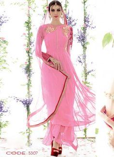Awasome Pink Pure Georgette With Work Designer Salwar Suit