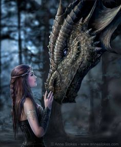 Anne Stokes well known for her stunning fantasy artwork. Based in Leeds, Yorkshire, Anne Stokes is married with a young son. Anne Stokes, Fantasy Wesen, Fantasy Kunst, World Of Fantasy, Dragon Art, Pet Dragon, Female Dragon, Dragon Head, Fire Dragon