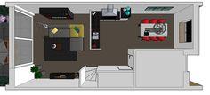 Keukenontwerp concept ibbA Almere | onafhankelijk keukenadvies | Huis & Interieur. Bovenaanzicht, zodat je de looplijnen goed kunt zien.