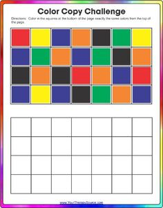 Color Challenge Visual Motor and Visual Spatial Freebie