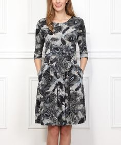 Loving this Gray Feather Fit & Flare Dress on #zulily! #zulilyfinds